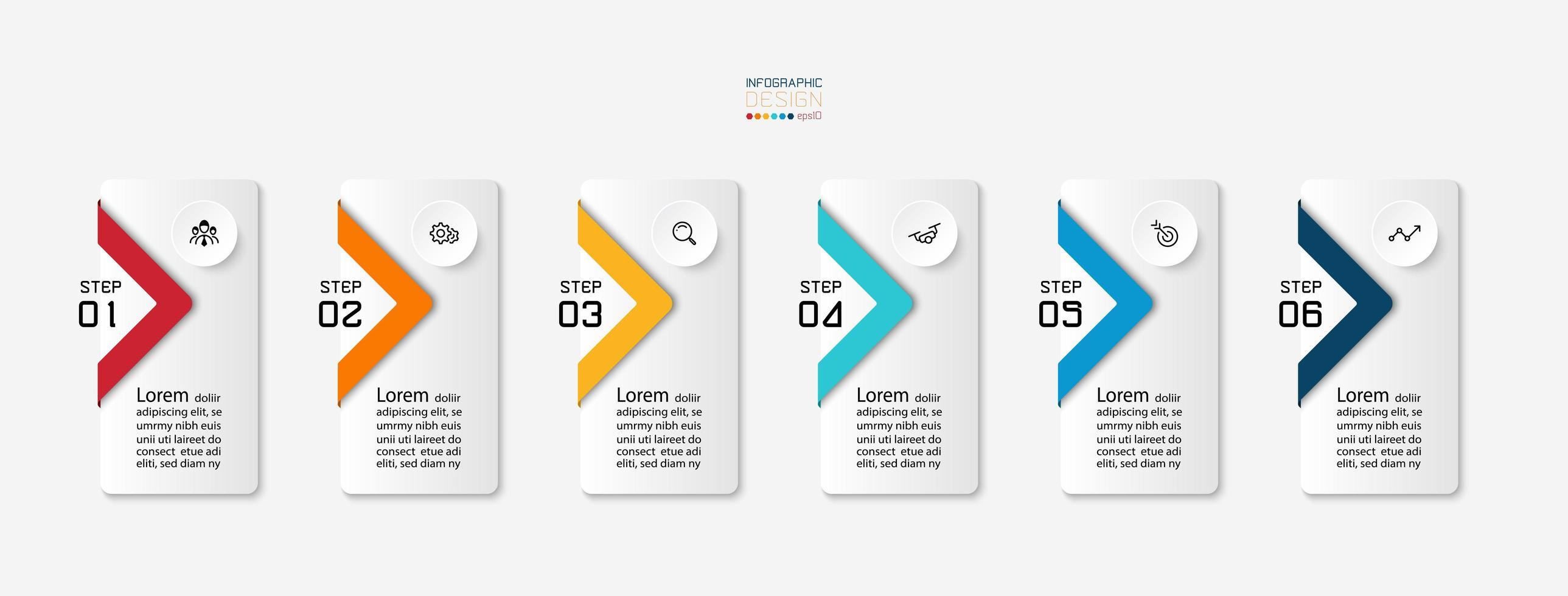 6 rektangulära infografiska etiketter vektor