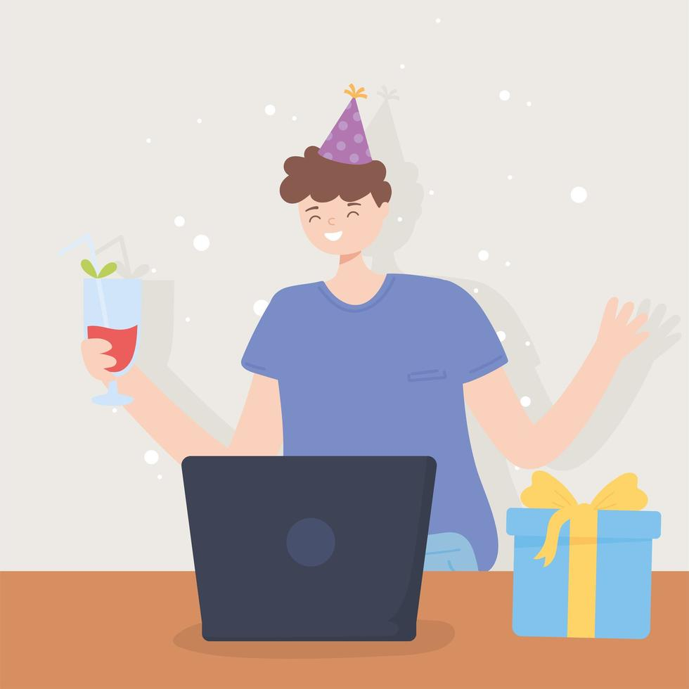 ung man i ett videosamtal online-part vektor