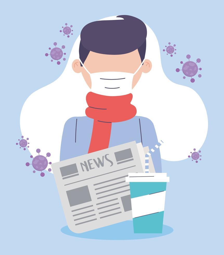 Mann, der eine Gesichtsmaske während des Ausbruchs des Coronavirus trägt vektor