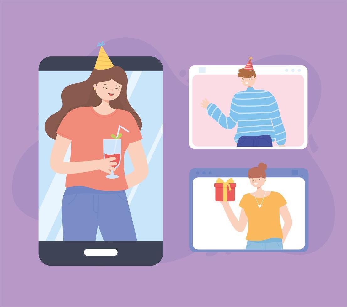 Menschen in einem Videoanruf feiern online vektor