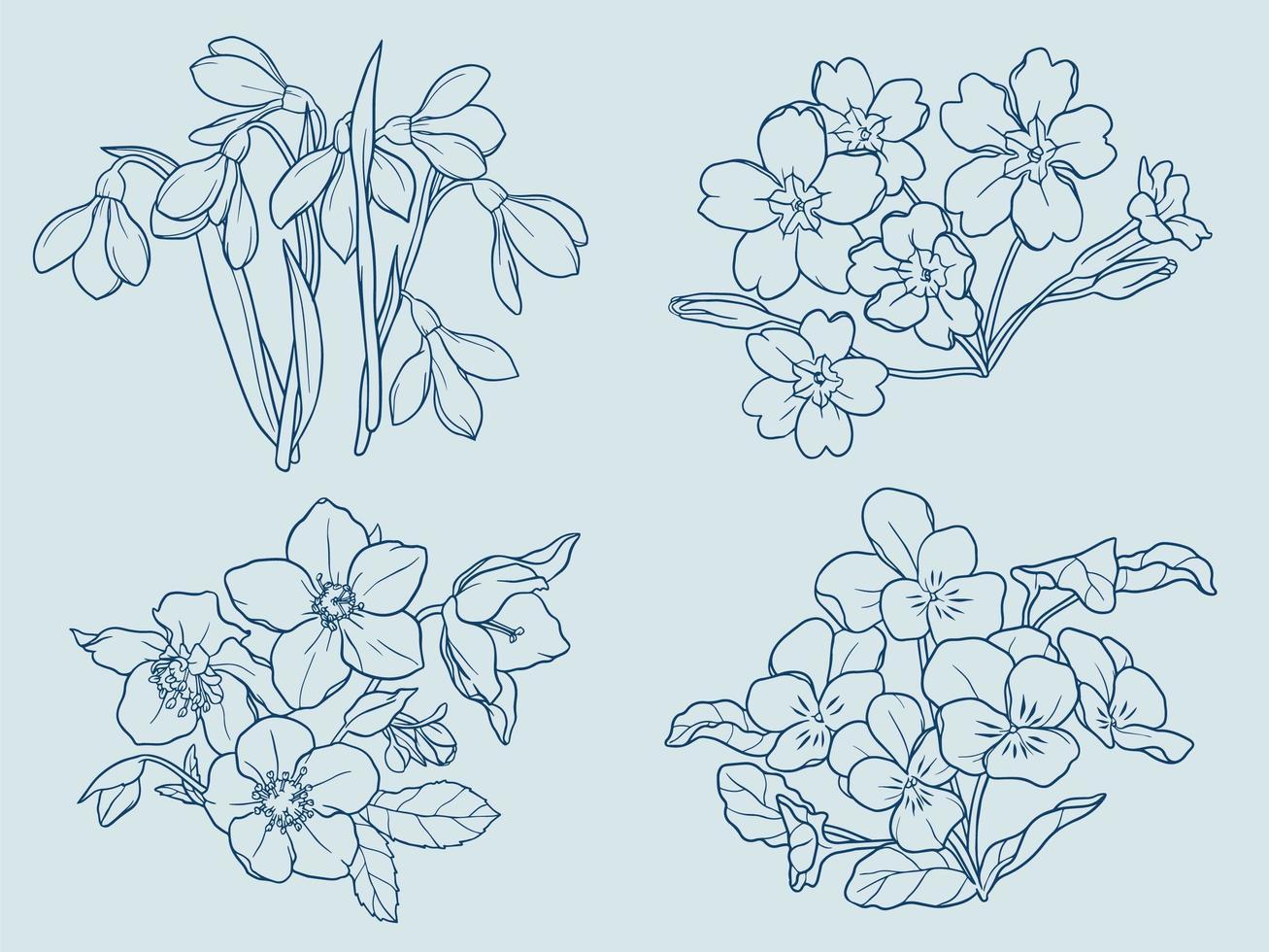 vinter blommor disposition vektor