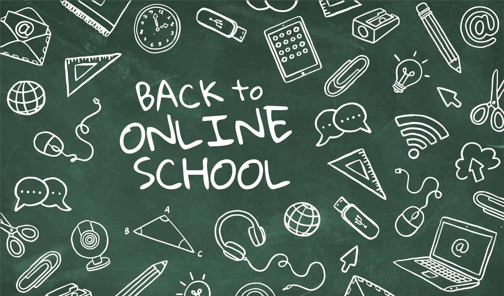 tillbaka till online skolkoncept vektor