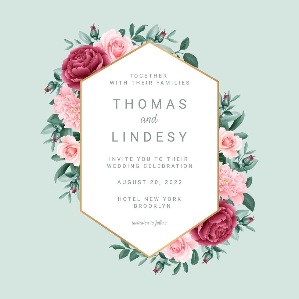 blommig geometrisk ram bröllopsinbjudan vektor