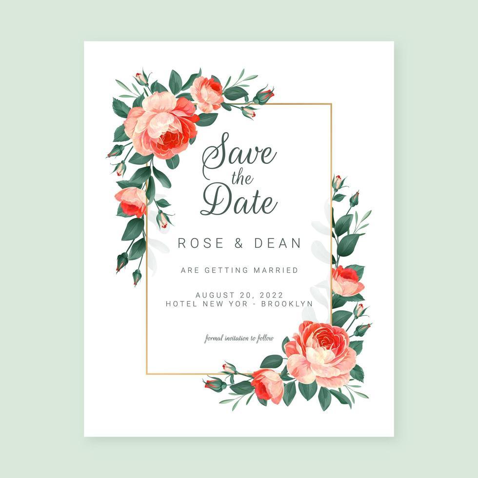 engelska rosar bröllop ram vektor