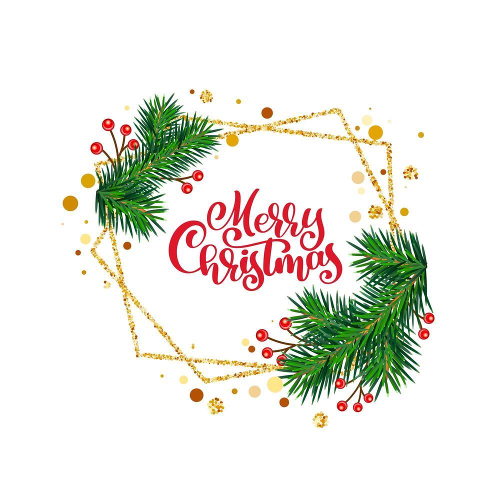 god jul vinter gratulationskort ram vektor