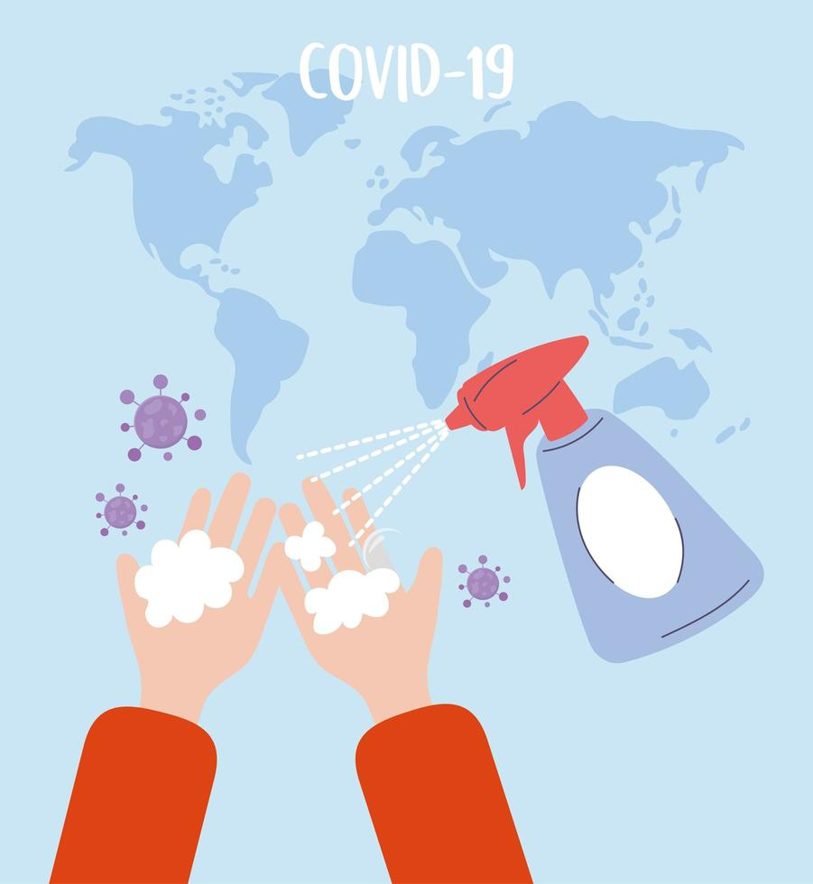 Prävention von Covid-19 und Virusdesinfektion vektor