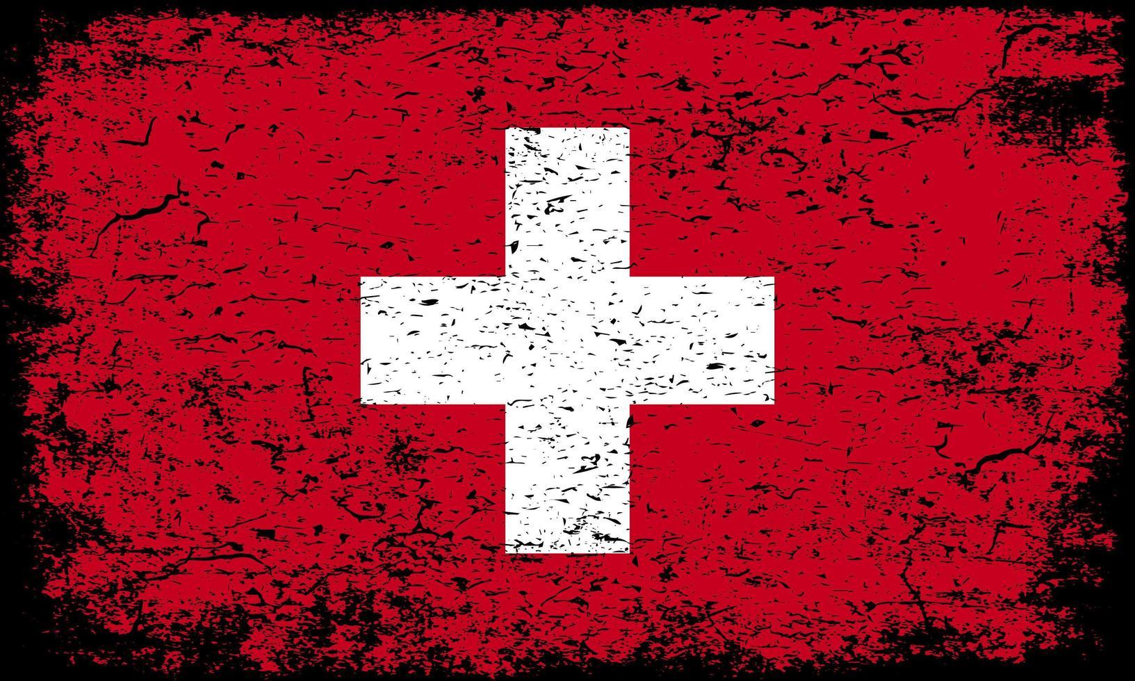 Schweiz flagga i rostig grunge texturerad effekt vektor