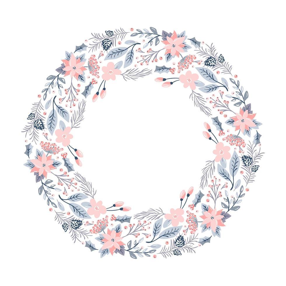 Weihnachtskranz mit rosa Blumen vektor
