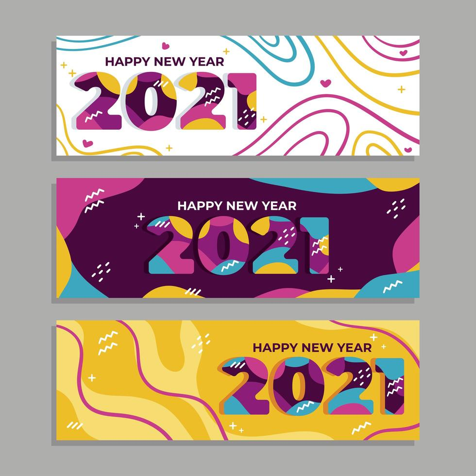 färgglada gott nytt år 2021 banners vektor