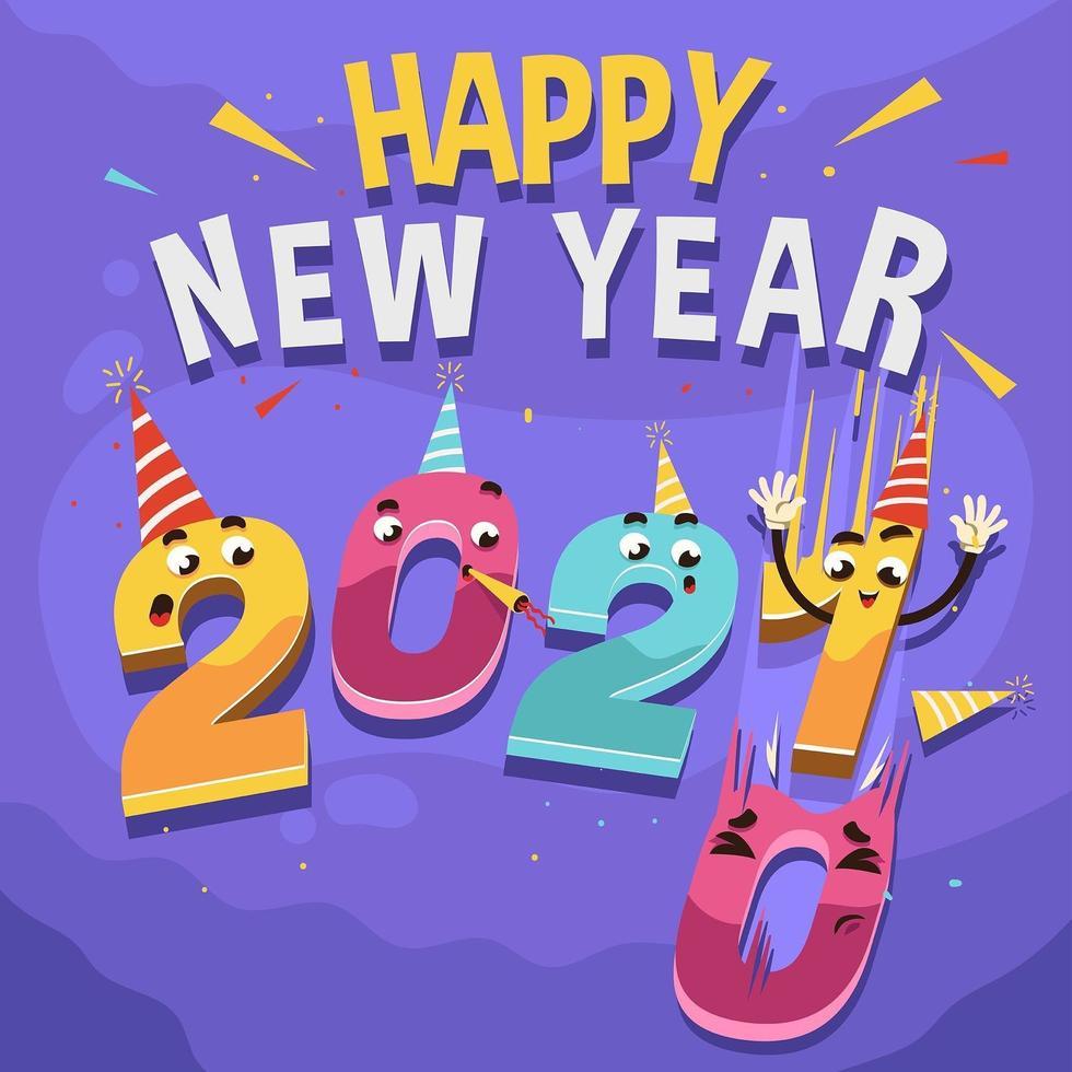 roligt 2021-nummer för nyårskoncept vektor