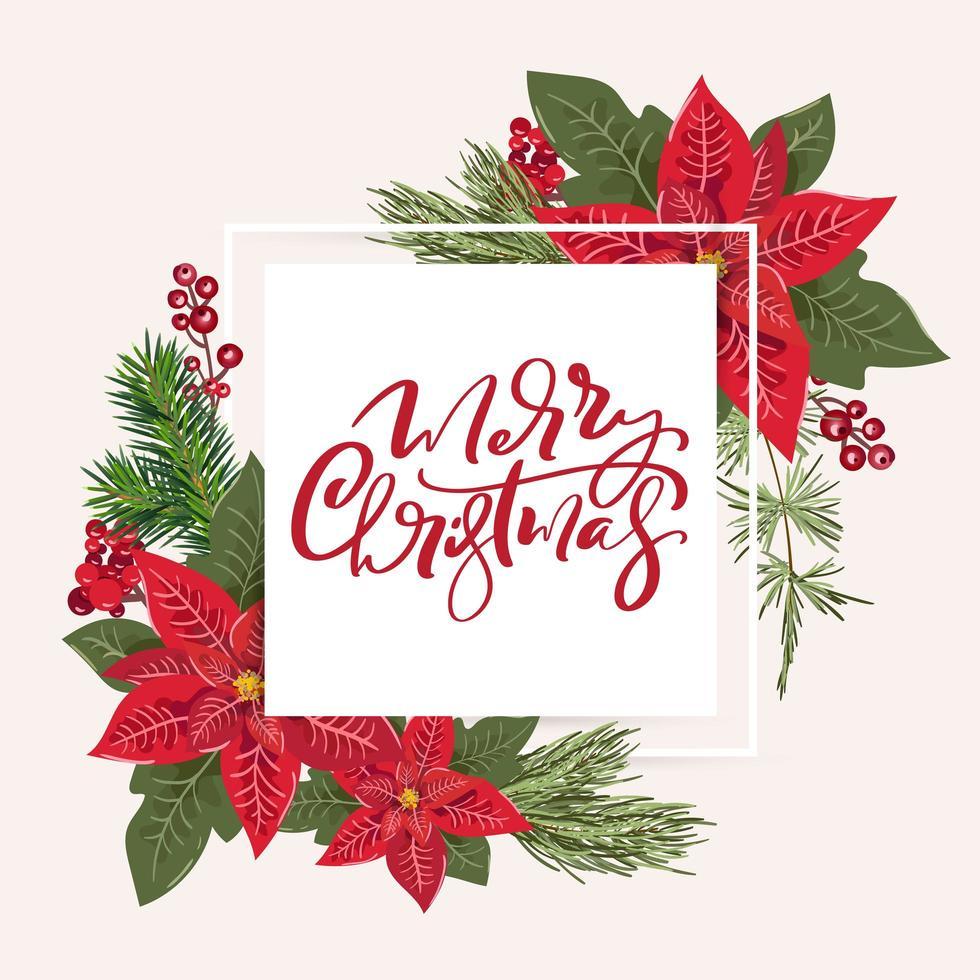 god jul gratulationskort med blommig julstjärndekoration vektor