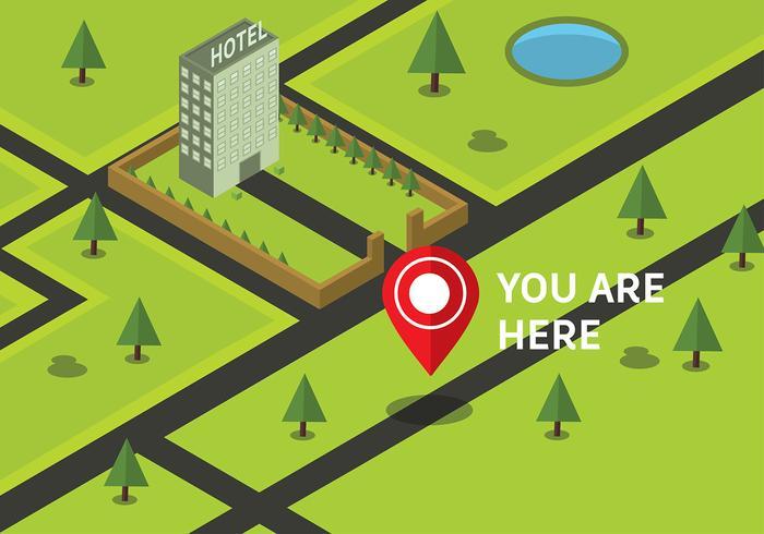 Gratis Isometrisk Du är här Karta Vector