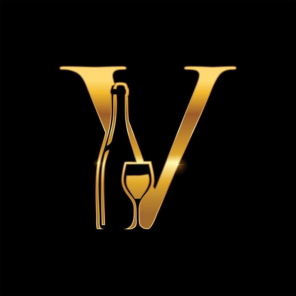 gyllene vinflaska och glas monogram bokstaven v vektor