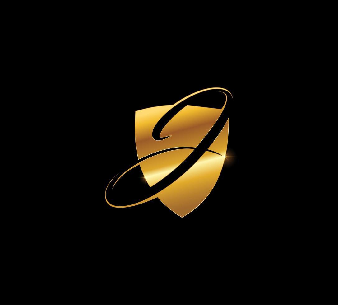 gyllene sköld monogram bokstaven j vektor