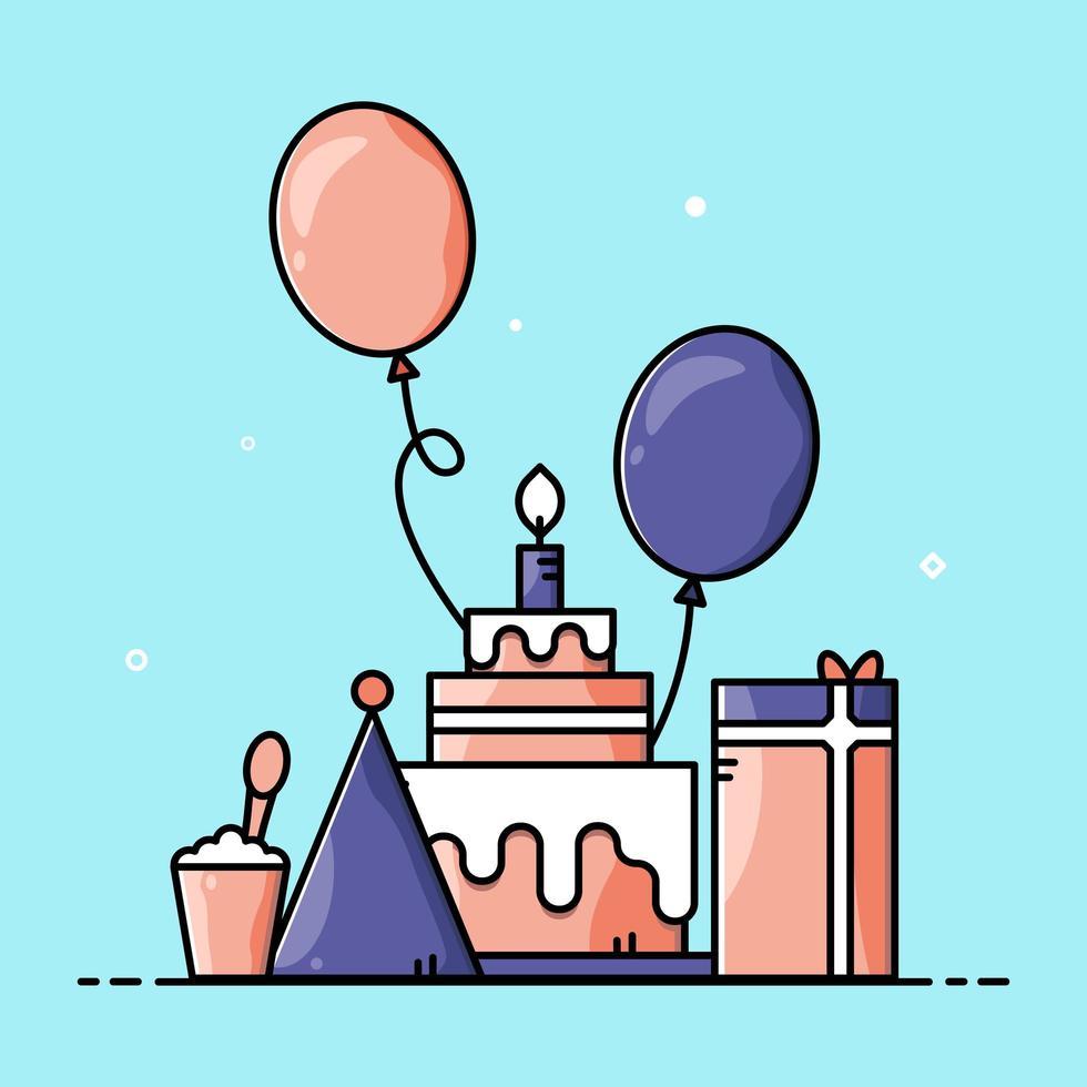 uppsättning söta tecknade födelsedagsartiklar vektor