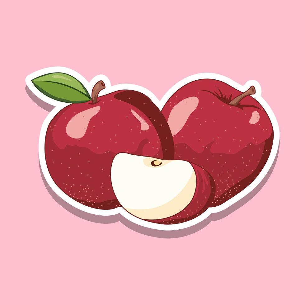 färsk tecknad äppelfrukt på rosa vektor