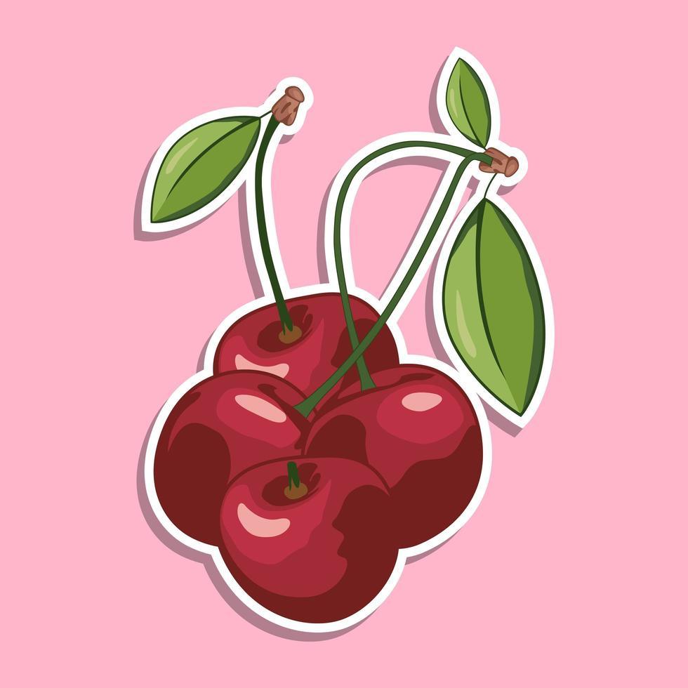 tecknad klistermärke för körsbärsfrukt vektor
