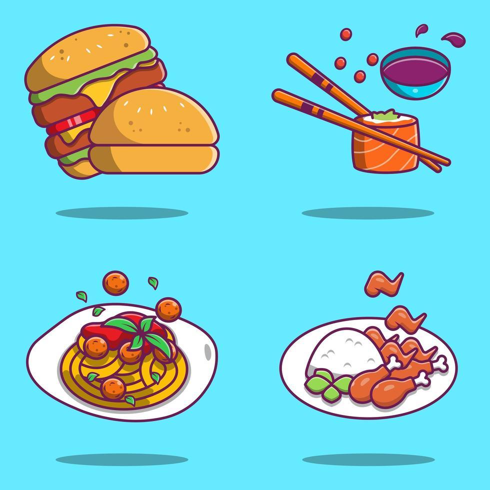 spaghetti, sushi, hamburgare och stekt kyckling tecknad design vektor