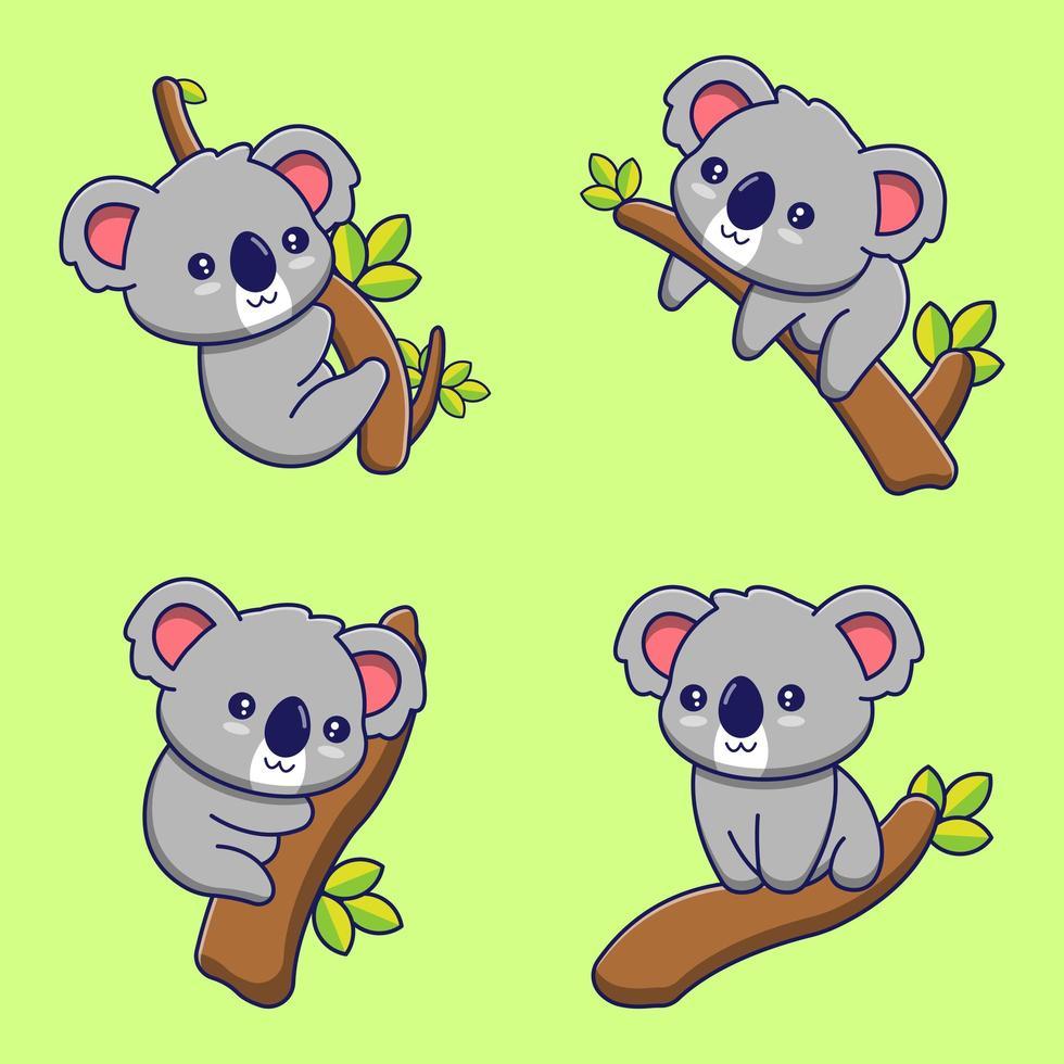 uppsättning söta tecknade koalabjörnar på grenar vektor