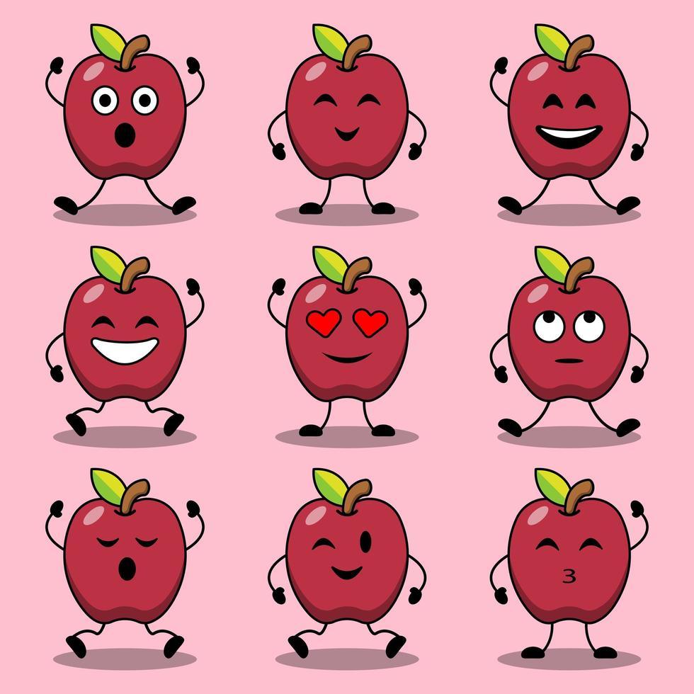 uppsättning söta tecknade poser av äpple karaktärer vektor