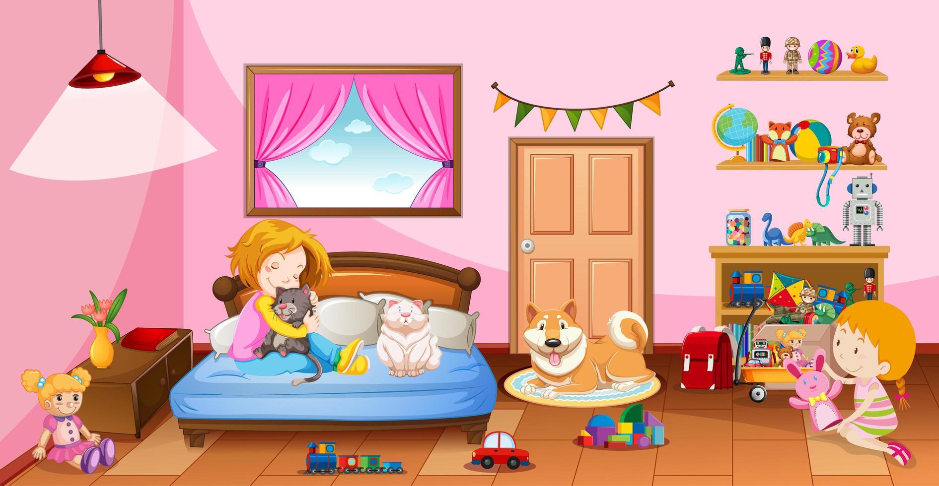 flickor som leker med sina leksaker i rosa sovrum vektor