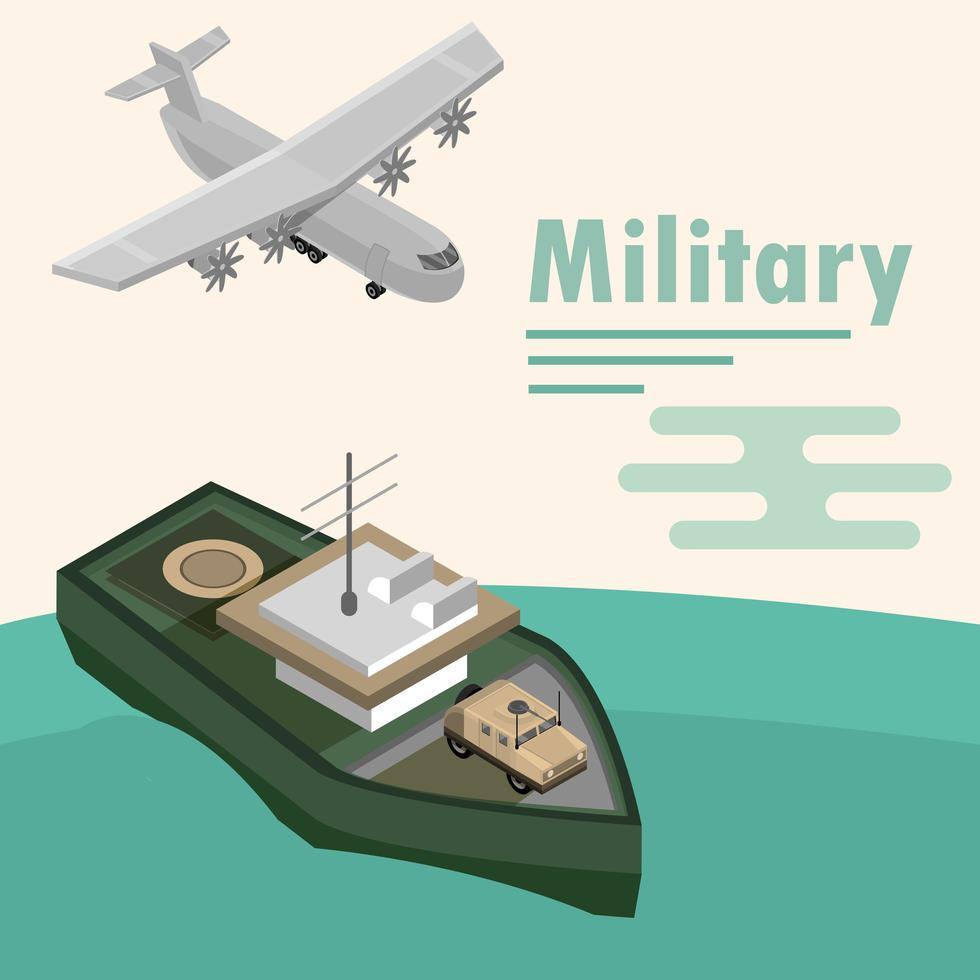 isometriska militära flygplan och fartygssammansättning vektor