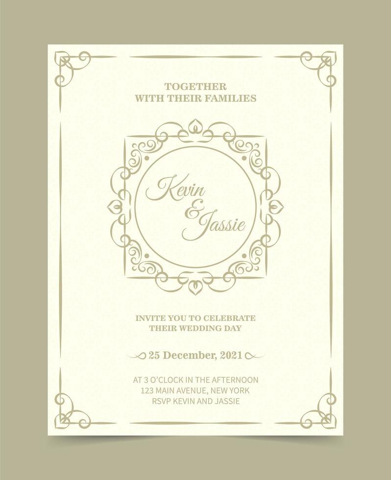 elegant klassiskt bröllopinbjudningskort vektor