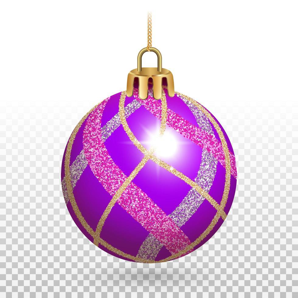 glänzende lila Weihnachtskugelverzierung mit Glitzerstreifen vektor