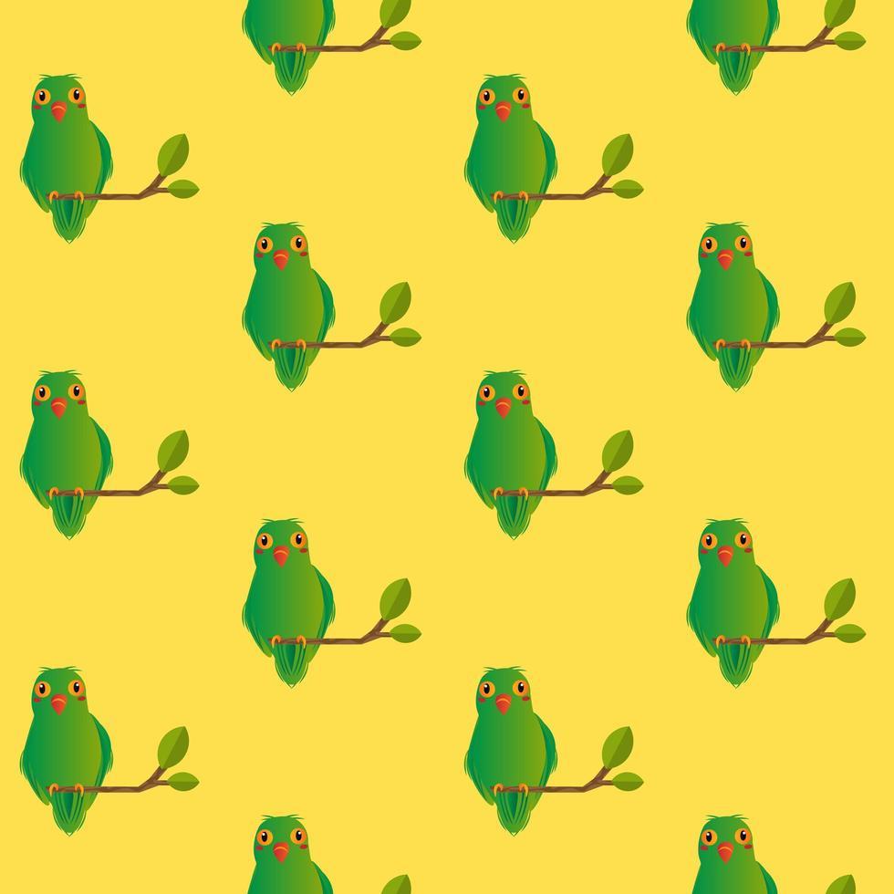 sömlös kärleksfågelmönster på gult vektor