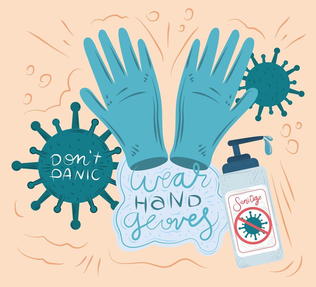 coronavirus ny normal handskekomposition vektor