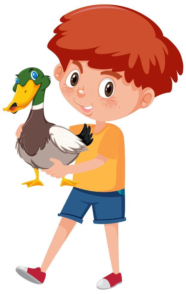 pojke håller söt djur seriefigur vektor