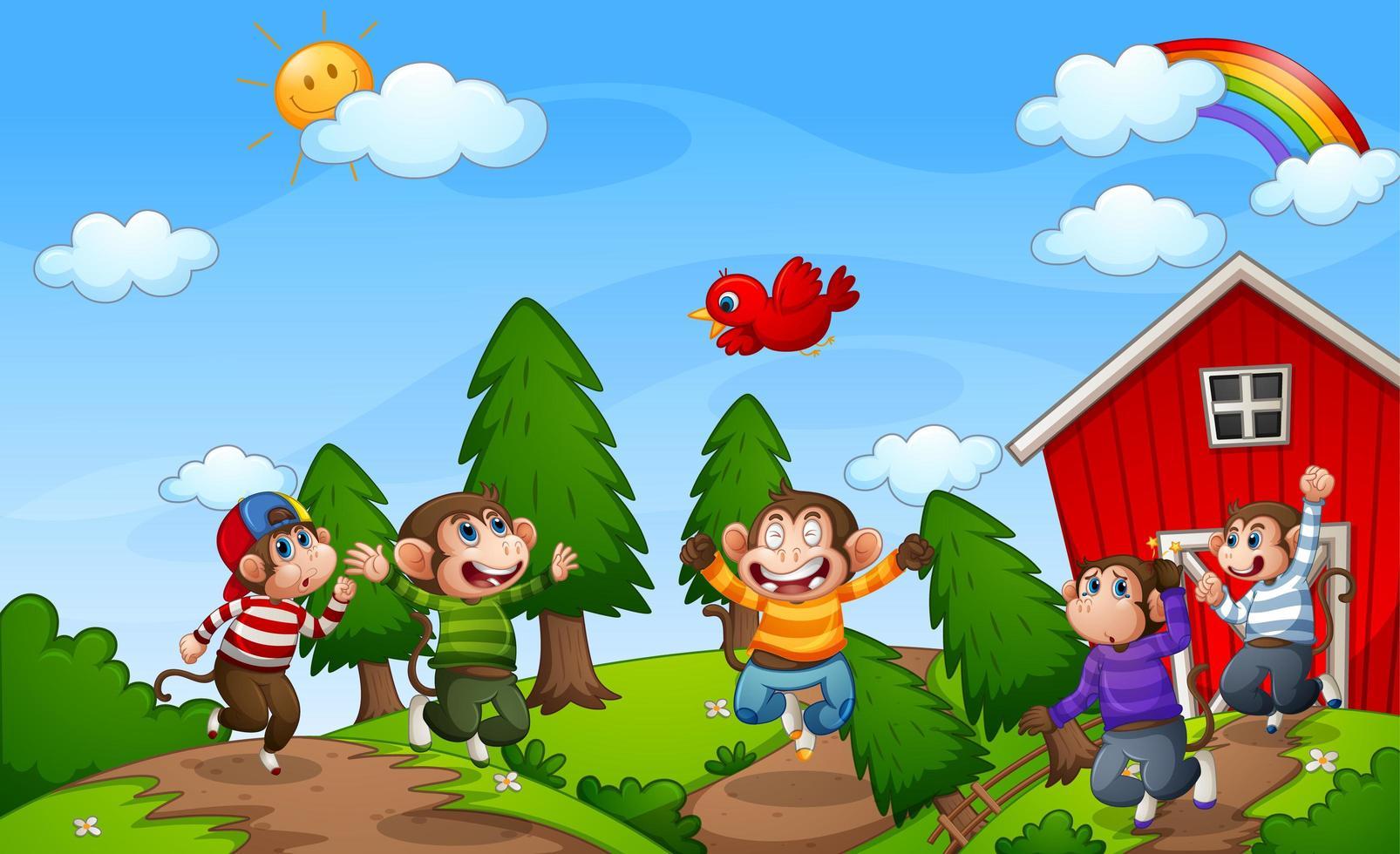 fem små apor som hoppar på gården vektor