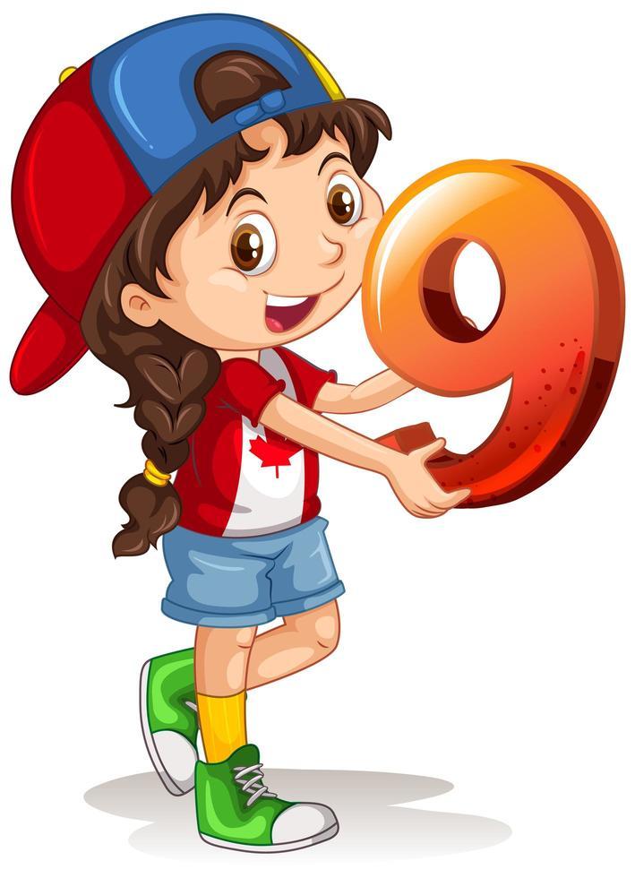 kanadensisk flicka som bär mössa som rymmer matematik nummer nio vektor