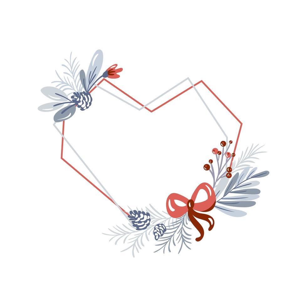 geometrisk hjärta ram med jul grönska vektor
