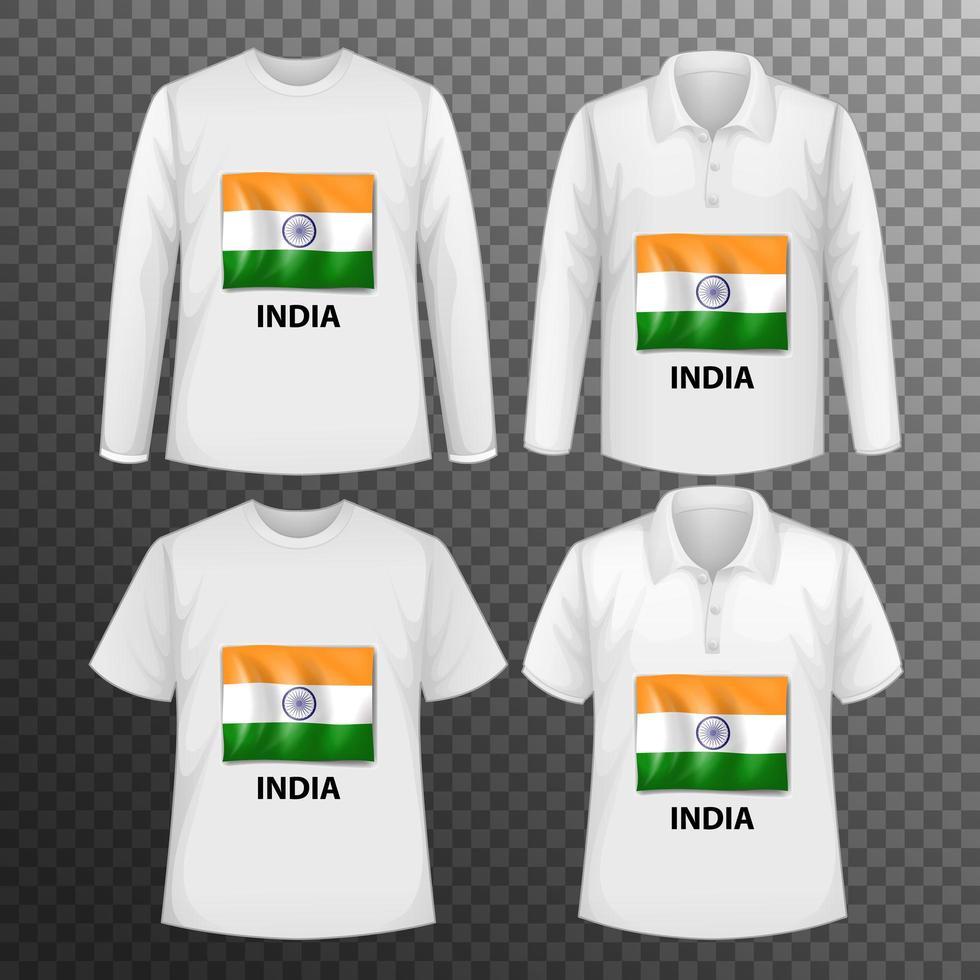 uppsättning olika manliga skjortor med Indien flaggskärm vektor