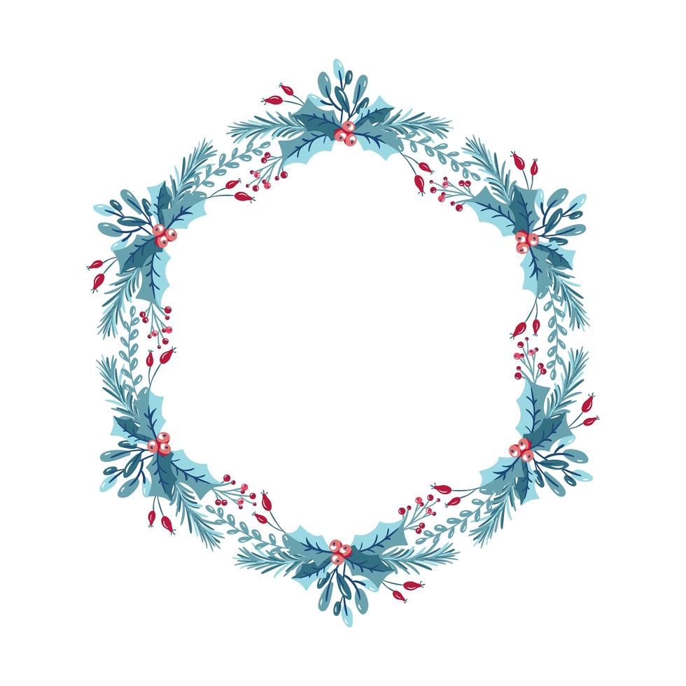 julkrans med bär, järnek och grenar vektor