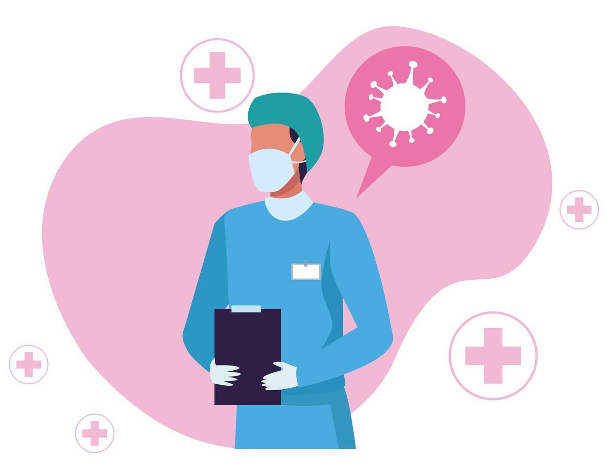 Chirurg trägt medizinische Maske mit covid19 Partikeln vektor