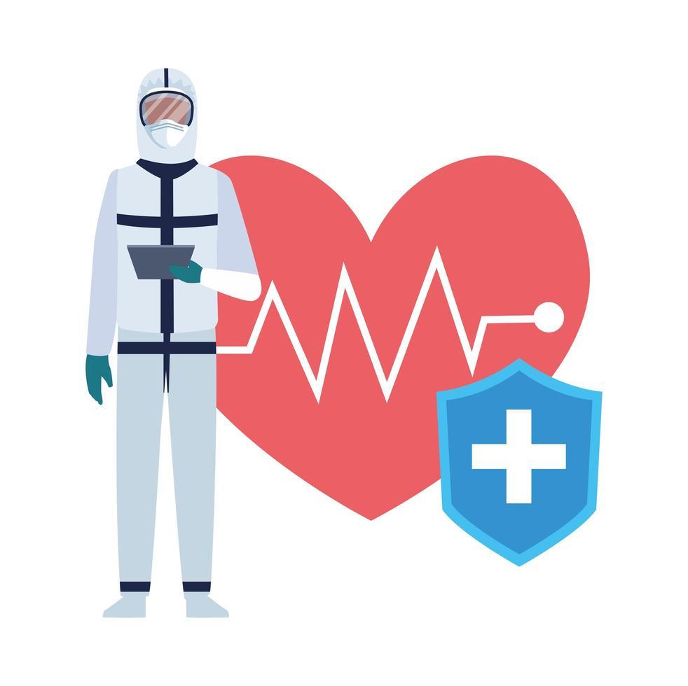 professioneller Arzt im Bio-Sicherheitsanzug mit Herz-Cardio vektor