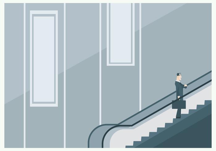 En affärsman på rulltrappan vektor