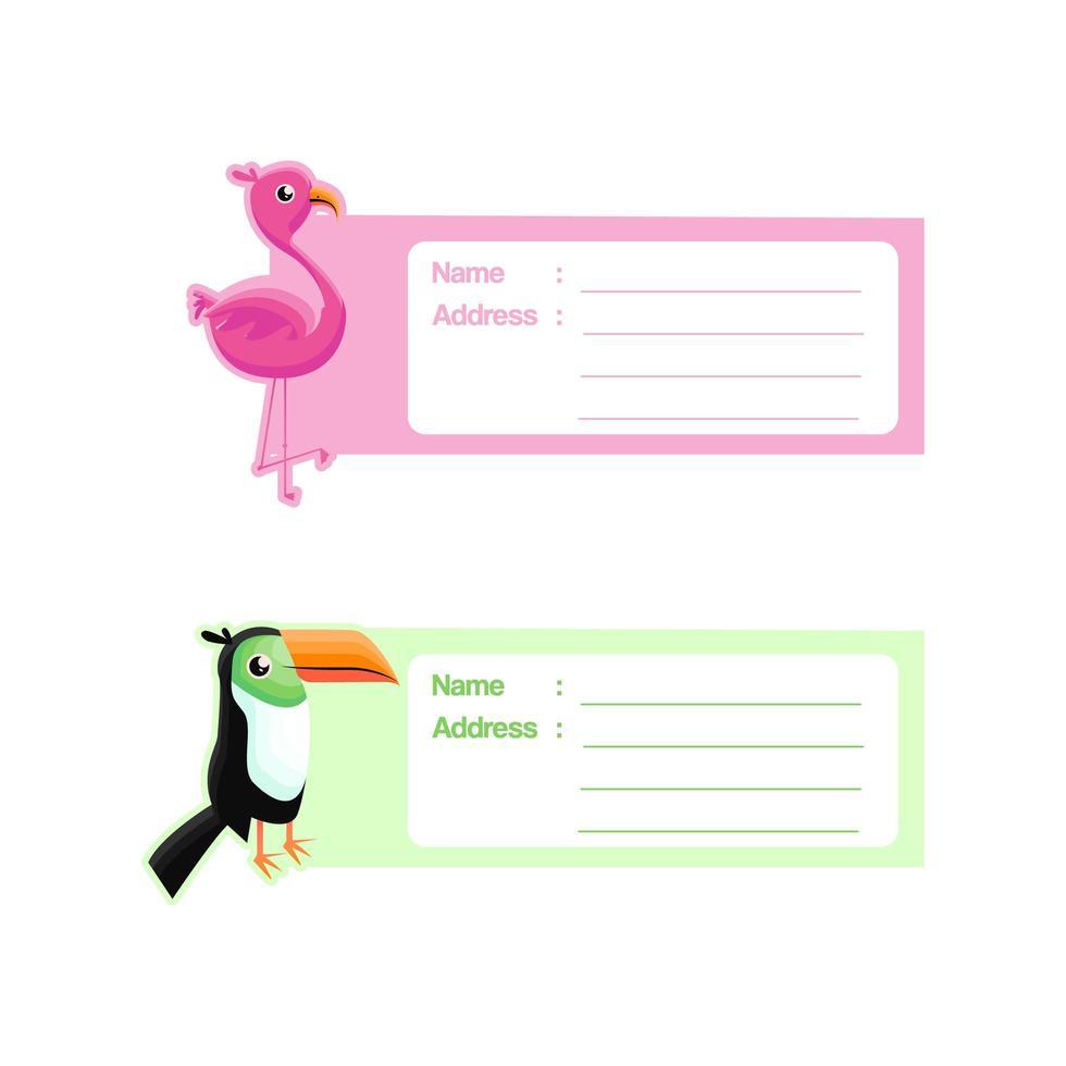 söt djuretikettdesign med flamingo och tukan vektor