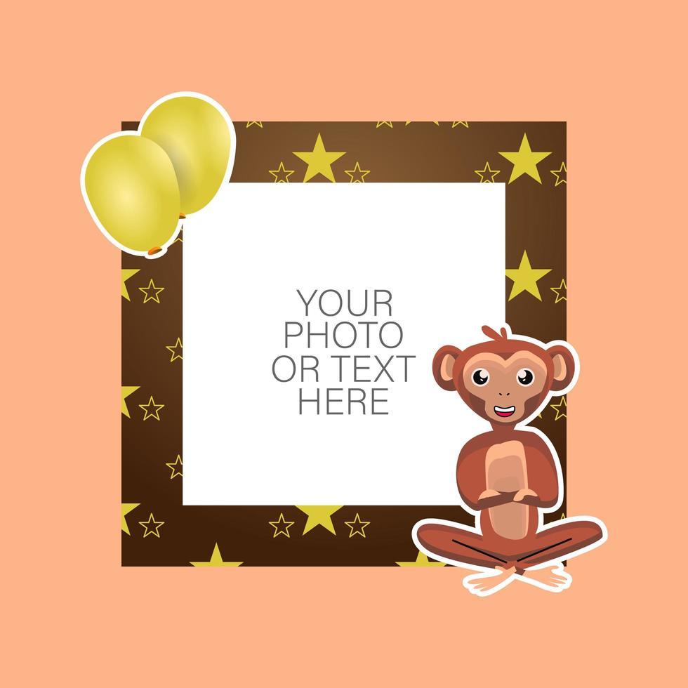 fotoram med tecknad apa och ballonger vektor