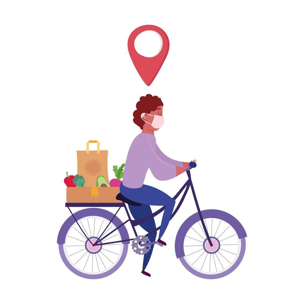 Kurier mit Maske und Essen bestellen Fahrrad fahren vektor