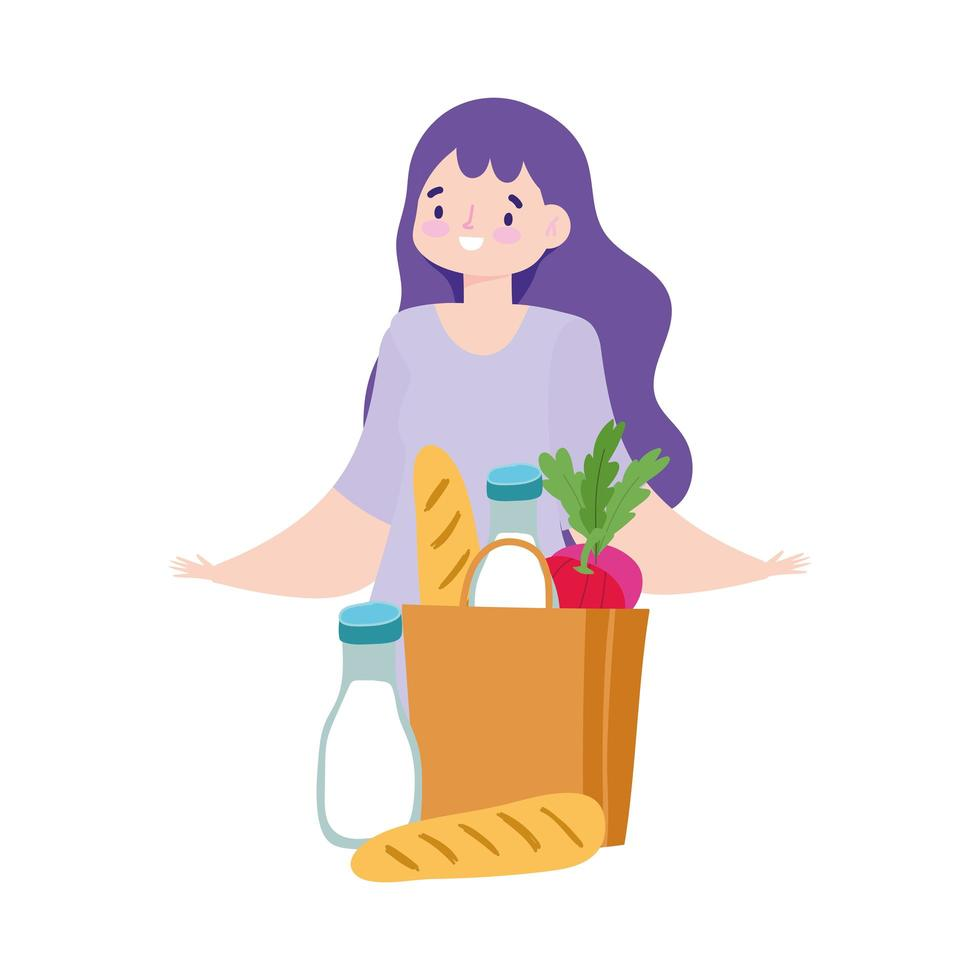 kundkvinna med livsmedelspåse vektor