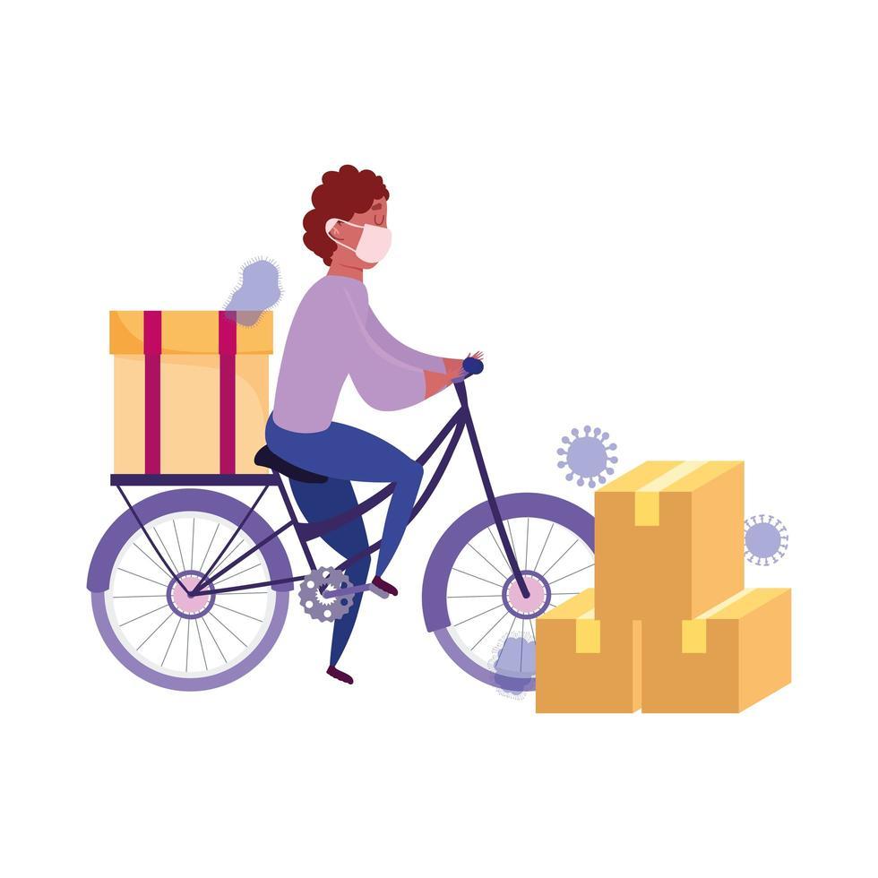 Kuriermann, der Fahrrad mit Pappkartons reitet vektor
