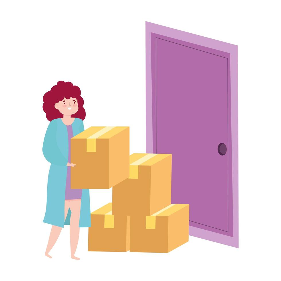 Frau mit Pappkartons an der Tür vektor