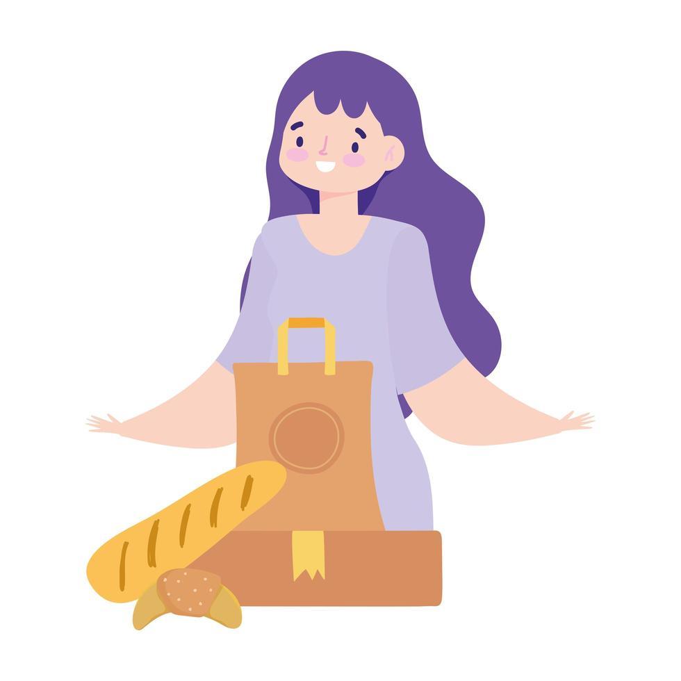 kundkvinna med bagerimat vektor