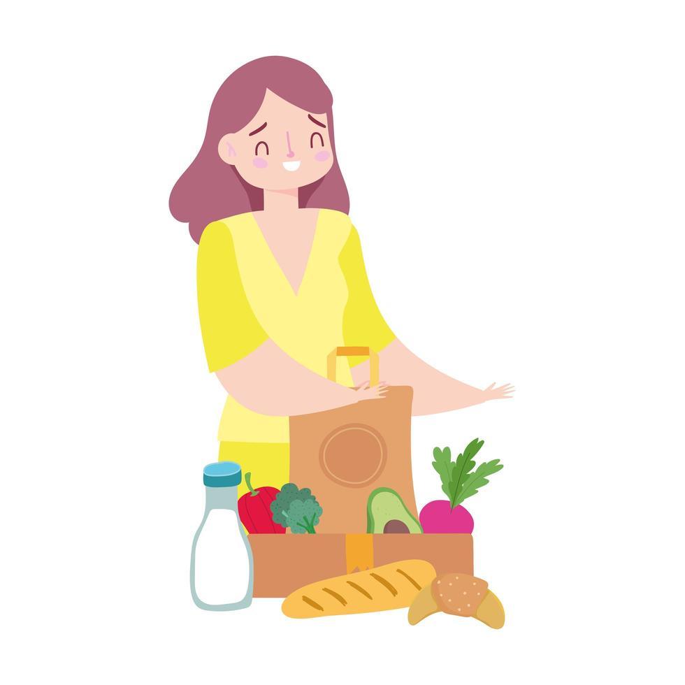 kundkvinna med livsmedelspåse och låda med mat vektor