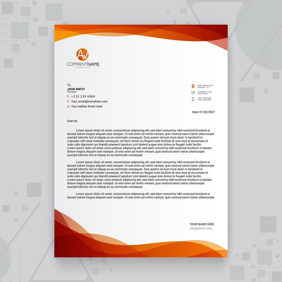 kreative Geschäftsbriefkopfschablone des roten orange Farbverlaufs vektor