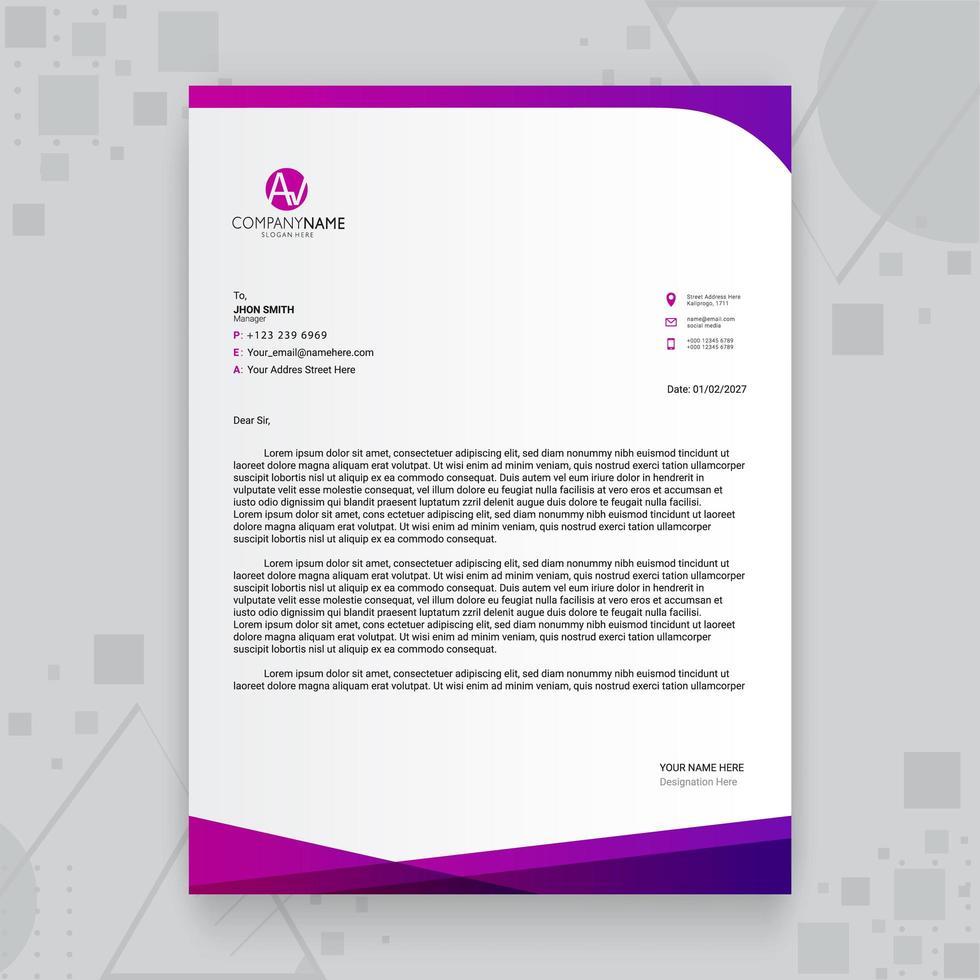 kreative Geschäftsbriefkopfschablone mit lila Farbverlauf vektor