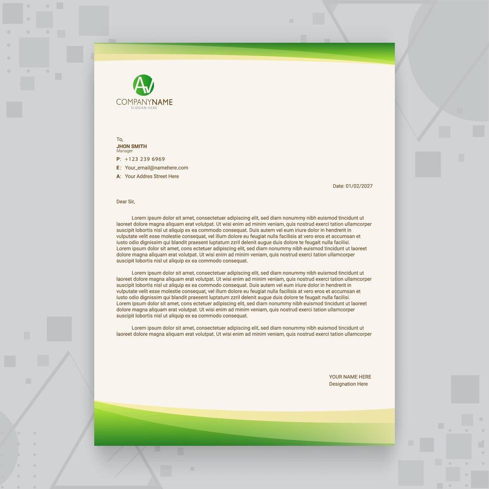 kreative Geschäftsbriefkopfschablone des grünen Farbverlaufs vektor